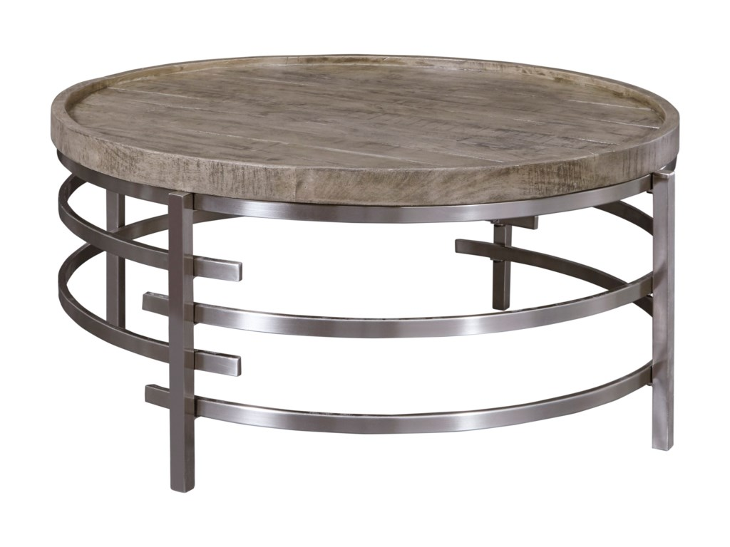 Signature Design By Ashley Zinelli Round Cocktail Table With Solid Wood Top And Polished Chrome Base Royal Furniture Cocktail Coffee Tables