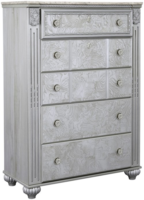 Signature Design by Ashley Zolena Glam 5 Drawer Chest