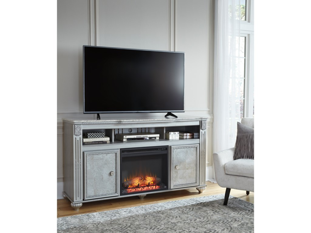 Signature Design by Ashley ZolenaTV Stand with LED Fireplace