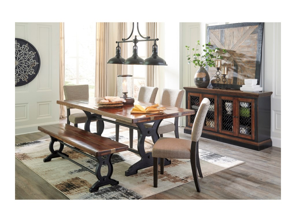Zurani Wood Metal Large Dining Room Bench By Signature Design Ashley