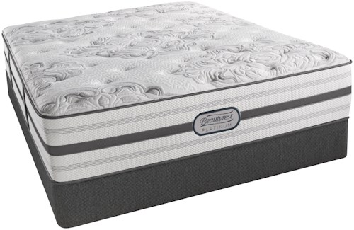 Simmons BR Black Calista Plush Queen Plush Pocketed Coil Mattress and Low Profile Foundation