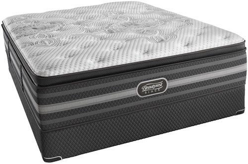 Beautyrest Black Katarina Queen Luxury Firm Pillow Top Mattress and Low Profile Foundation