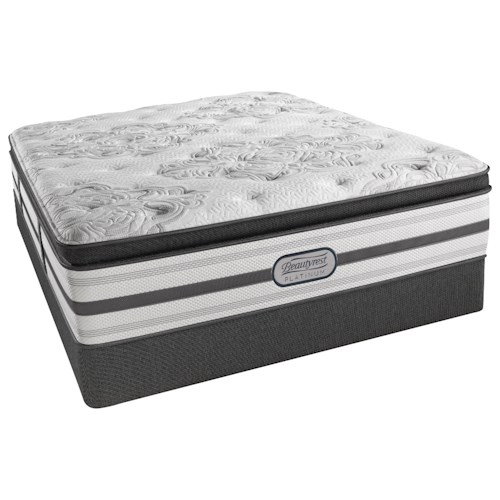 Beautyrest Platinum Gabriella Twin XL Plush Pillow Top Mattress and Low Profile Triton Foundation