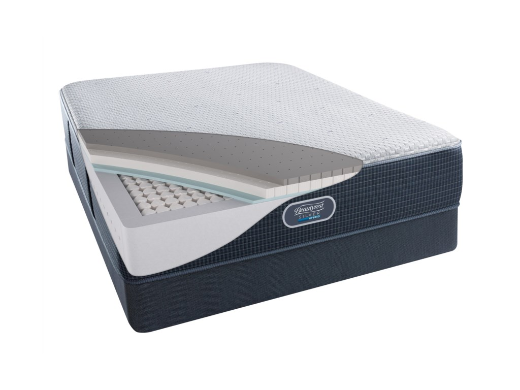 Beautyrest Silver Hybrid Beachwood Luxury FirmKing Low Profile Set