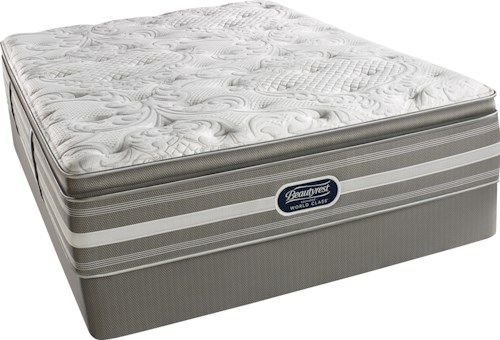 Simmons World Class Level 2 Jaelyn Cal King Luxury Firm Pillow Top Mattress and Triton Foundation