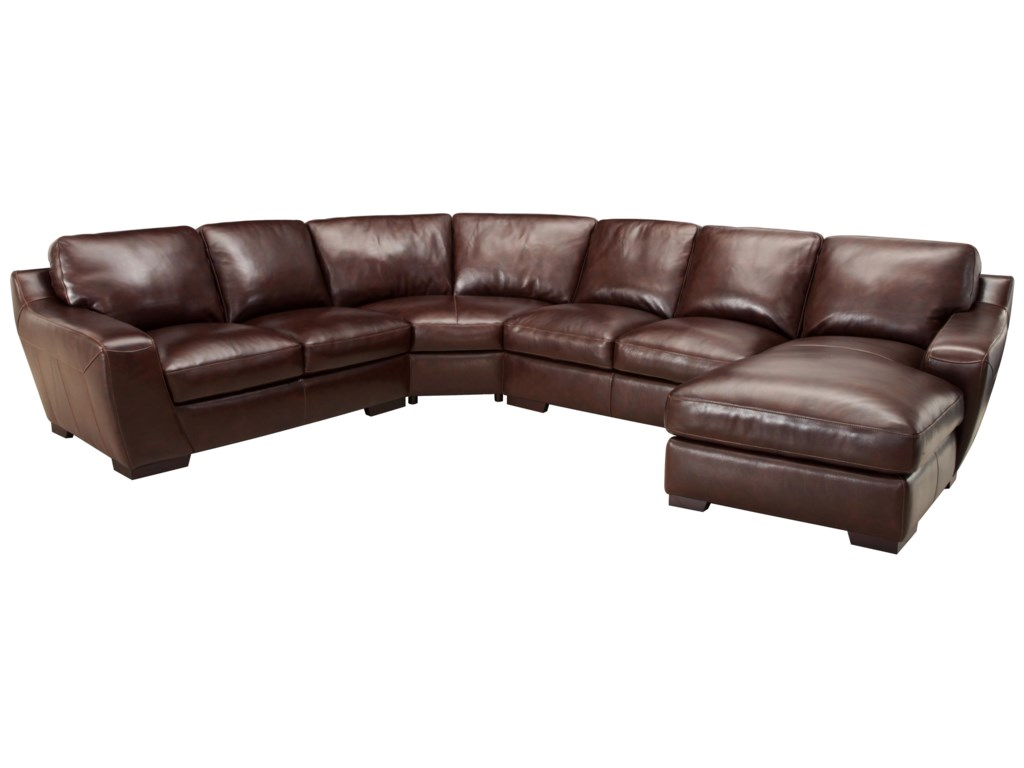 Valente Leather 6948Corner Sectional Sofa with Chaise