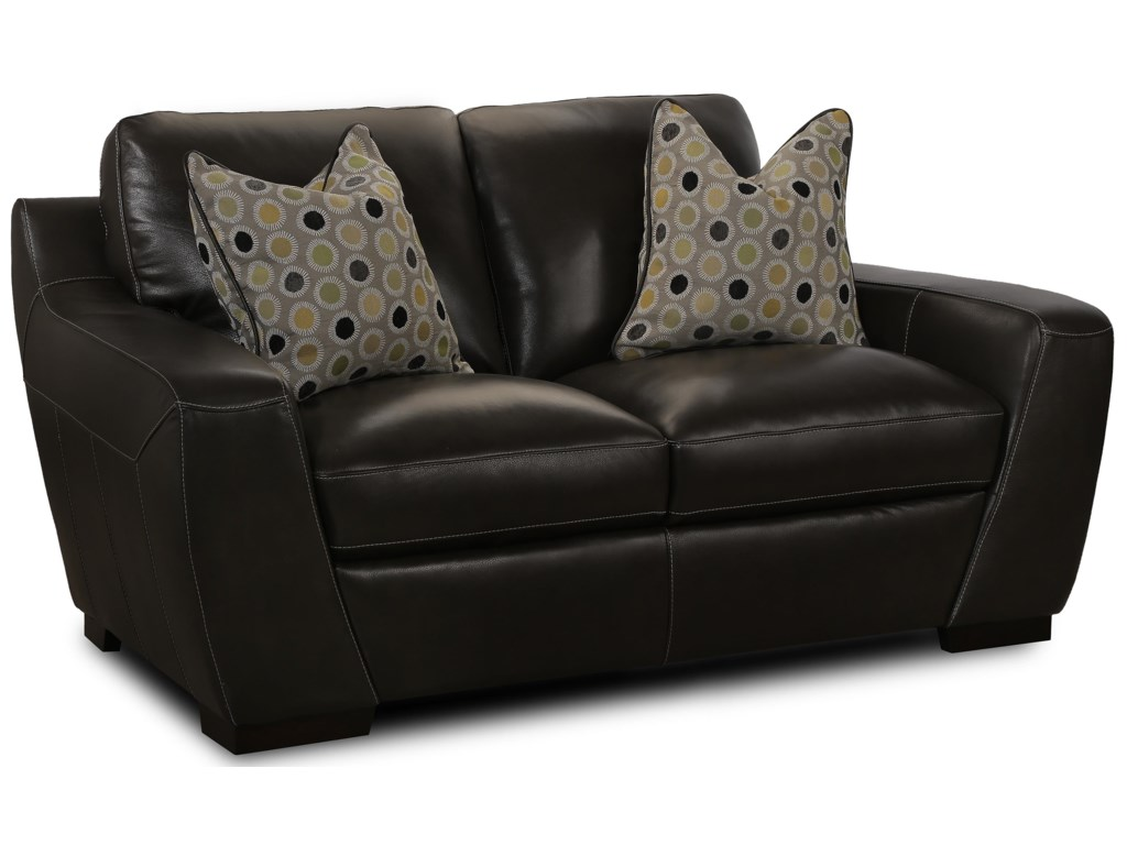 Simon Li AlphaStationary Leather Match Loveseat
