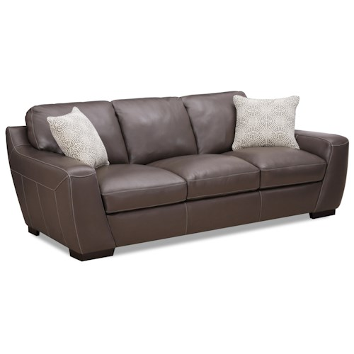 Simon Li Alpha Stationary Leather Match Sofa With Fabric Accent Pillows J J Furniture Sofa
