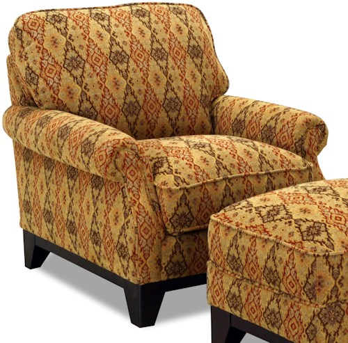 Simon Li 6973 Fabric Upholstered Rolled Arm Accent Chair
