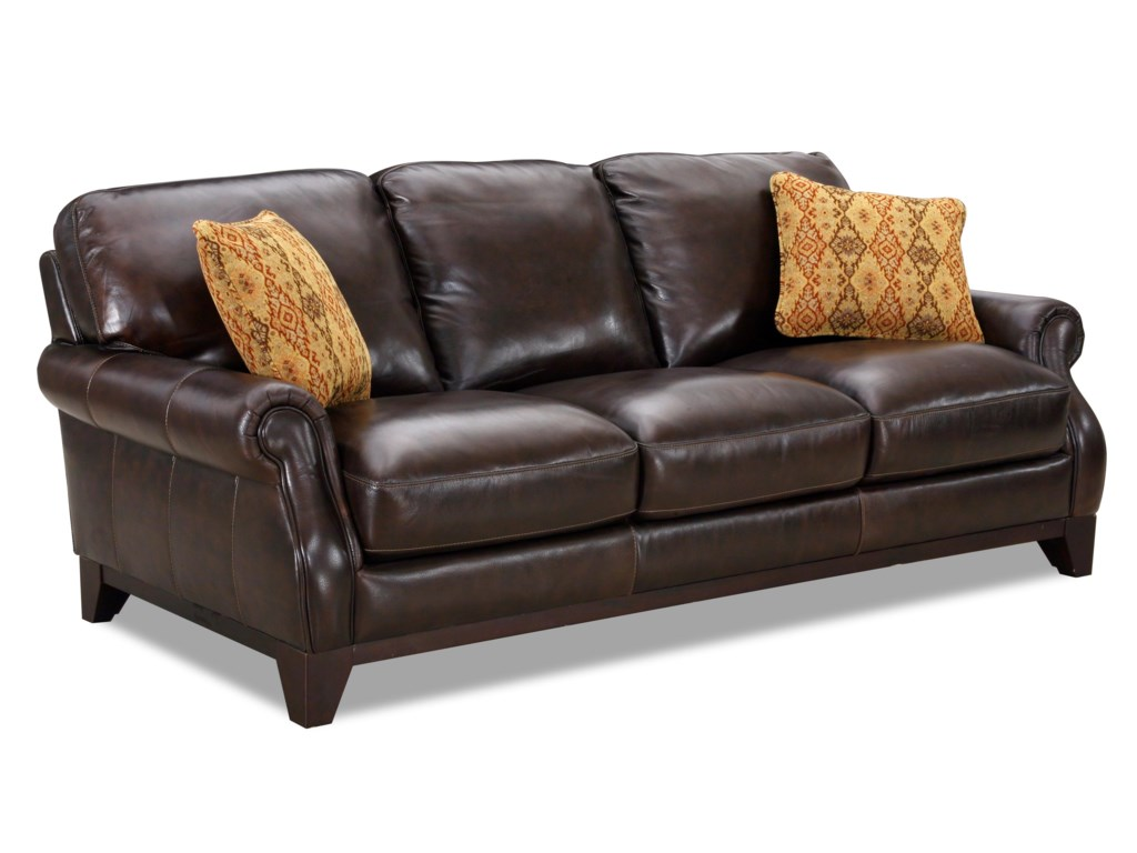 Simon Li 6973Leather Rolled Arm Sofa