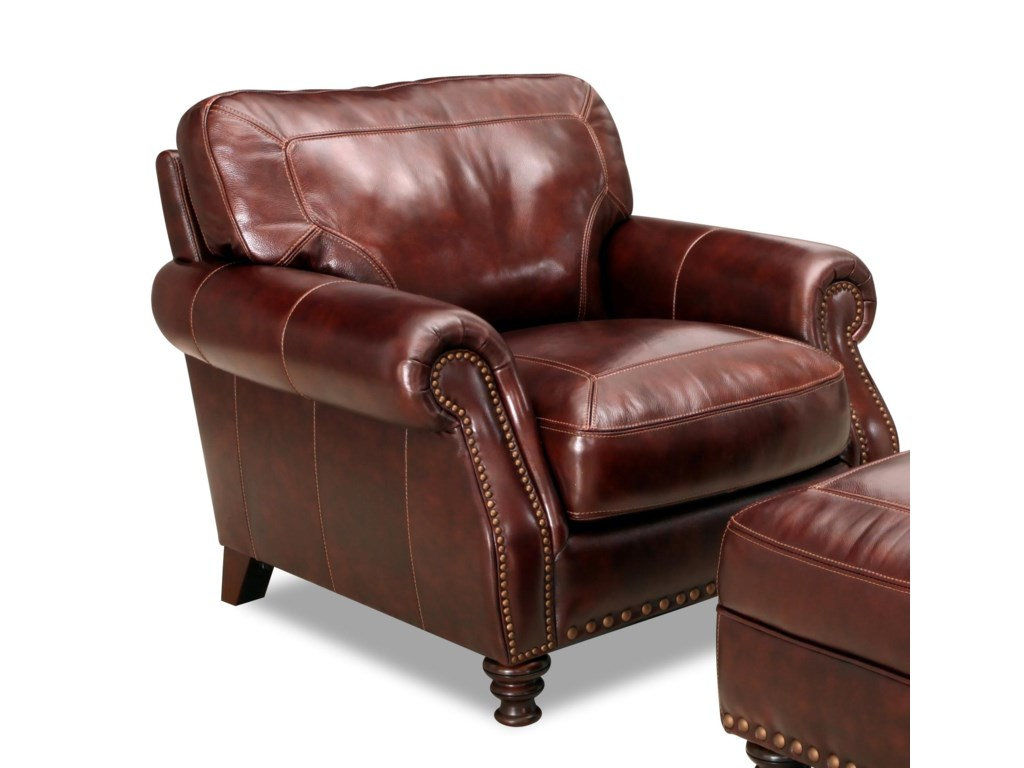 Simon Li 6978 6978 10 Rolled Arm Leather Chair With Nailhead Trim