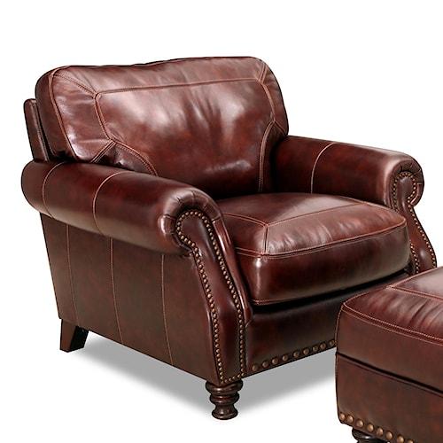 Simon Li 6978 Rolled Arm Leather Chair With Nailhead Trim