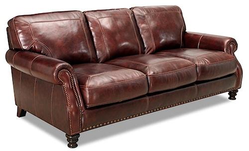 Simon Li 6978 Rolled Arm Leather Sofa With Nailhead Trim