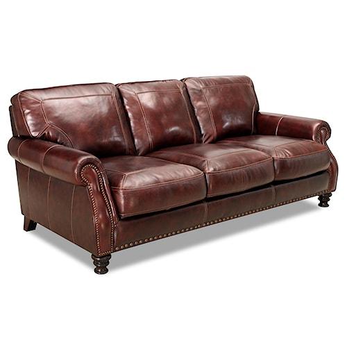 Leather Furniture Outlet North Carolina: Simon Li 6978 Rolled Arm Leather Sofa With Nailhead Trim