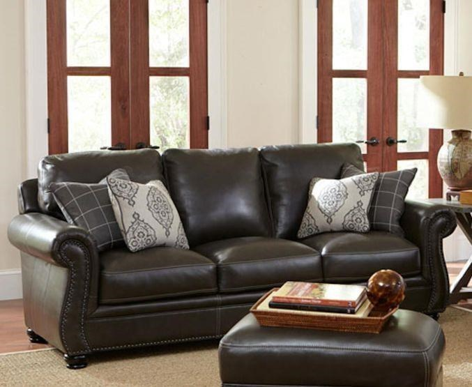 Simon Li Charleston Leather II Traditional Sofa With Nail Head Trim