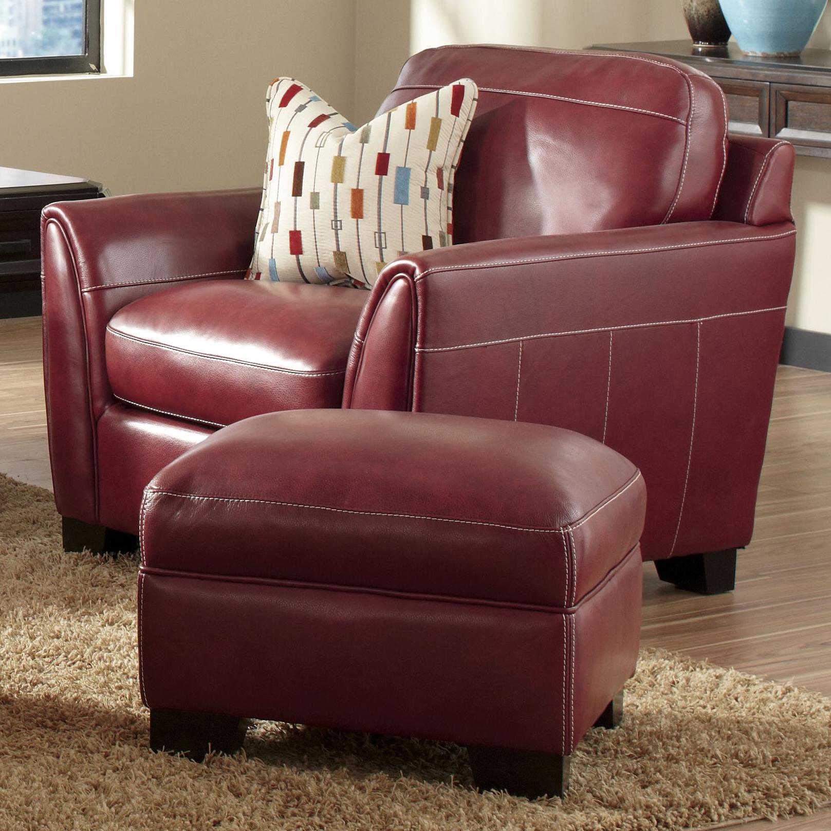 Simon Li J049 Contemporary Leather Arm Chair Ottoman