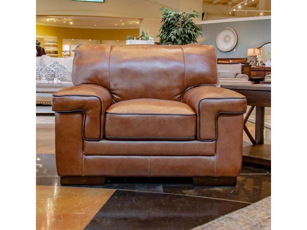 Simon Li StampedeChestnut Leather Chair