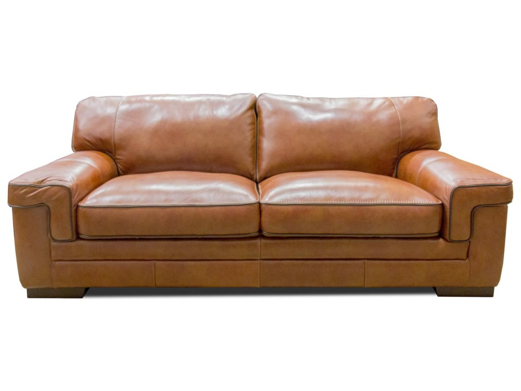 Simon Li Stampedechestnut Leather Sofa