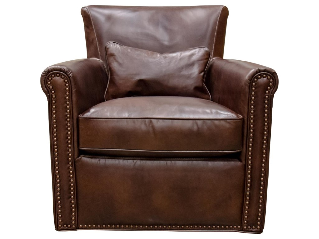 Simon Li St. JamesTobacco Leather Swivel Chair