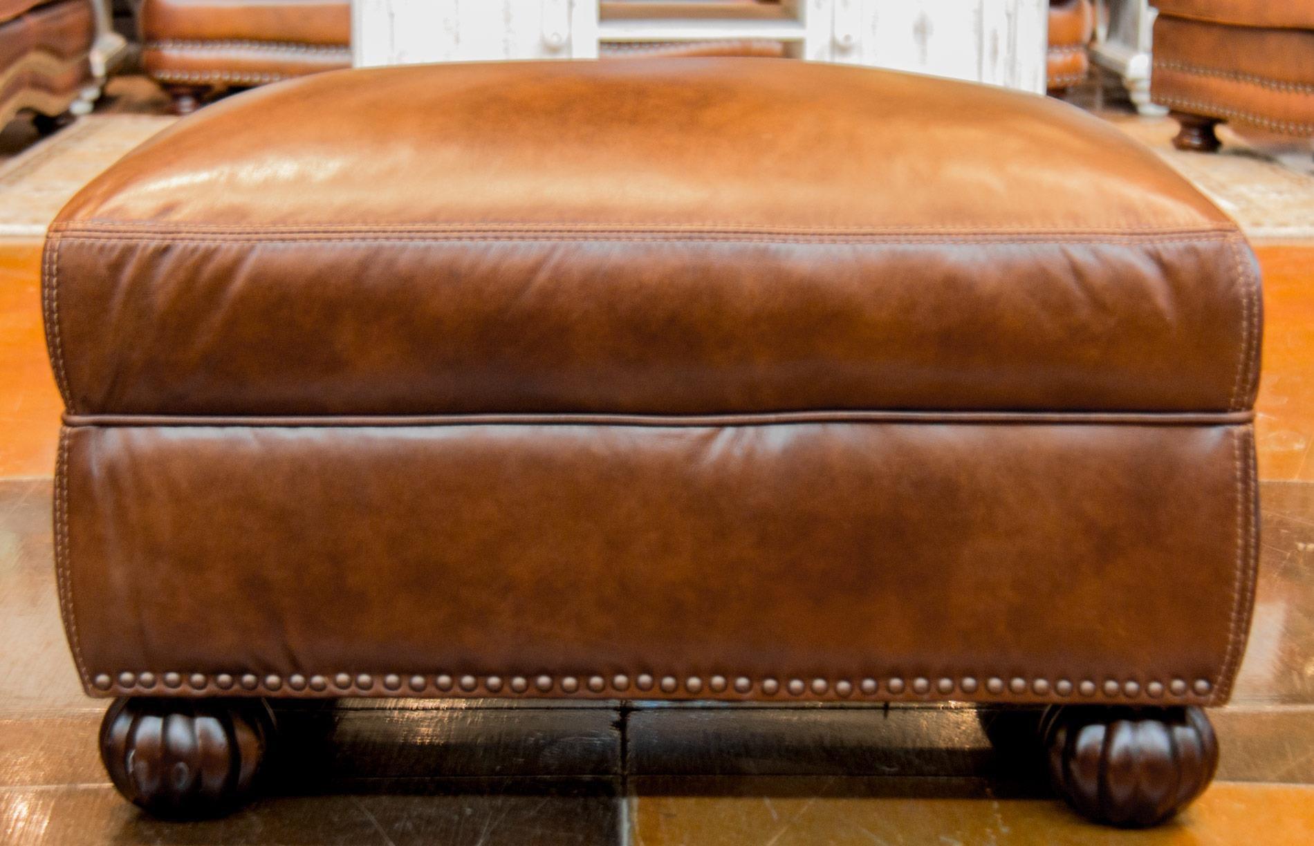 Exceptional Simon Li Saint JamesTobacco Leather Ottoman