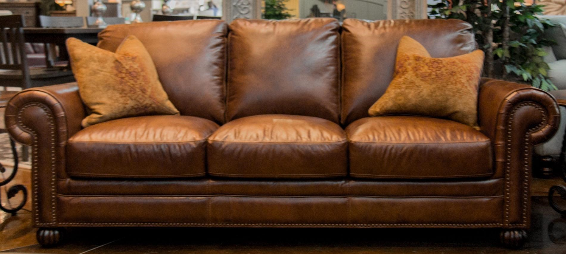 Simon Li Saint JamesTobacco Leather Sofa With Noura Fig Throw Pi. Read  Reviews