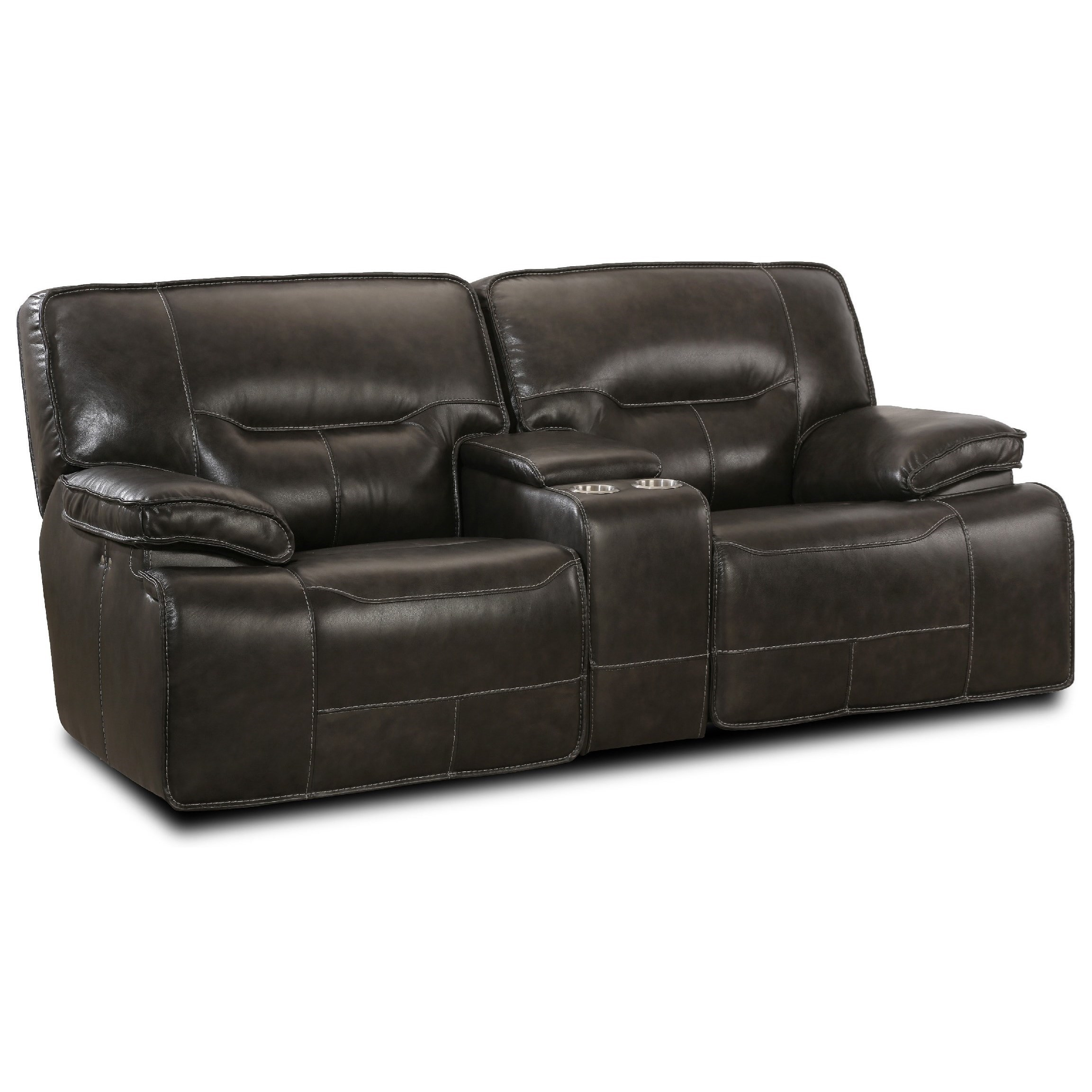 Simon Li Motion Max Leather Match Power Glider Loveseat Recliner W/ Console