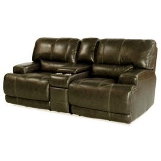 Simon Li Placier Leather Match Power Reclining Loveseat With Console