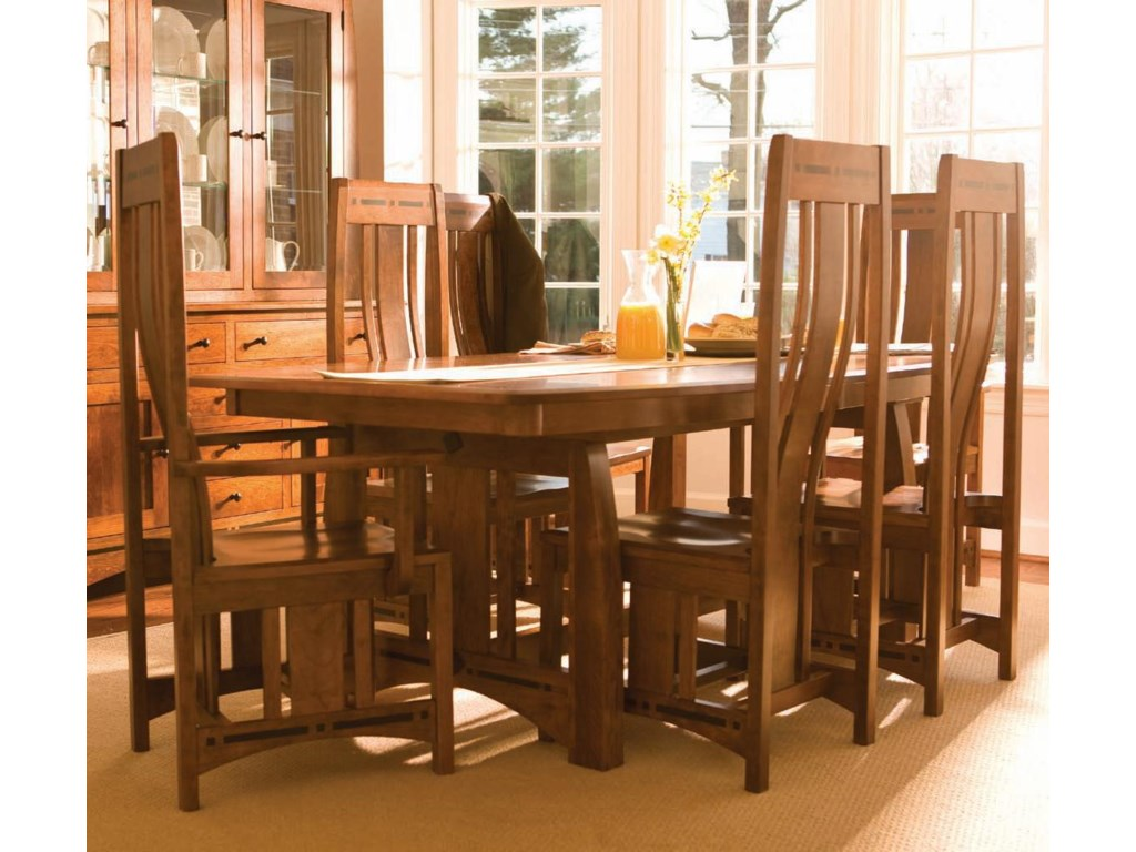 Simply Amish Aspen 7 Piece Aspen Table Chair Set Dunk Bright