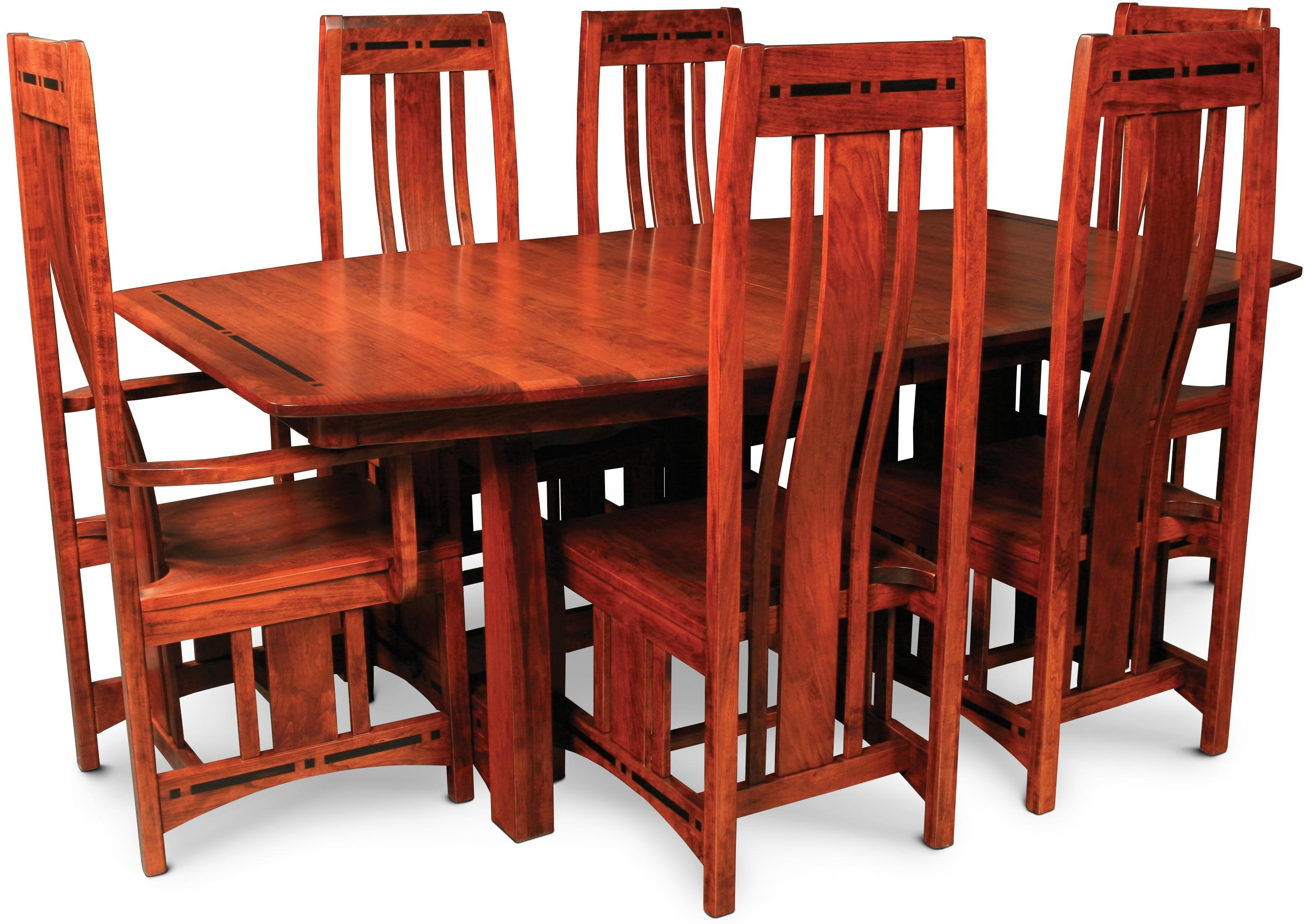 Simply Amish Aspen7 Piece Dining Set ...  sc 1 st  Dunk u0026 Bright Furniture & Simply Amish Aspen 7 Piece Mission Trestle Table and Chair Set ...