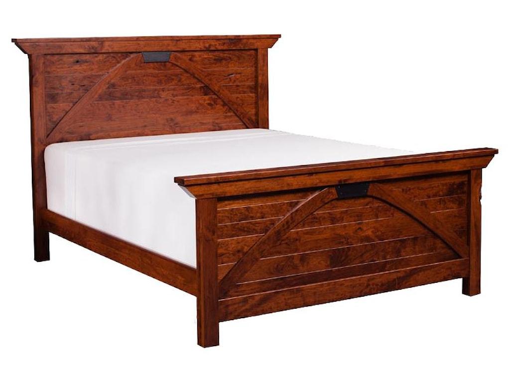 Simply Amish B and O RailroadKing Size Trestle Bridge Panel Bed
