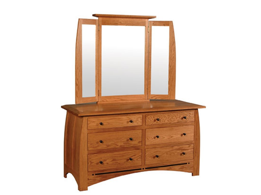 Simply Amish Aspen6 Drawer Dresser and  Mirror