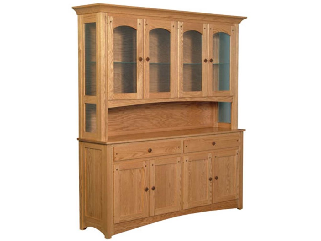Simply Amish Royal MissionOpen Hutch with 4 Arch Doors