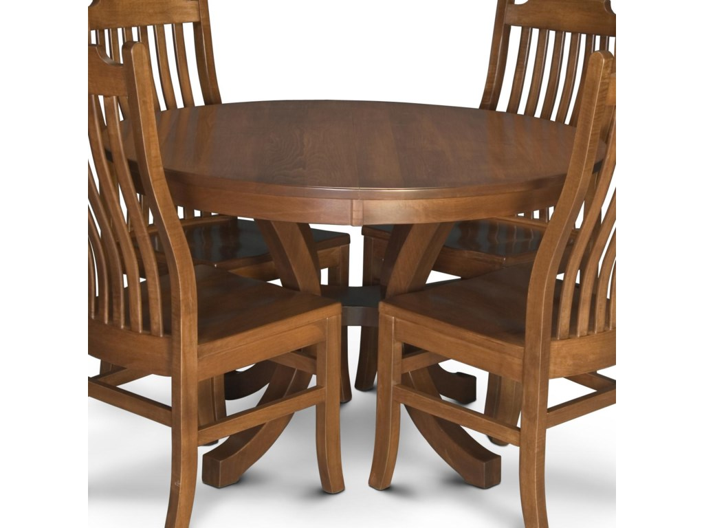 Simply Amish Loft NBL Round Pedestal Table With Leaves - Round dining table with 2 leaves