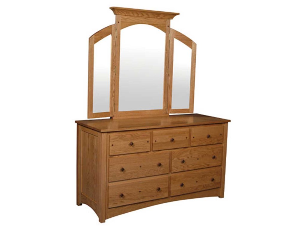 Simply Amish Royal Mission7-Drawer Dresser and Mirror