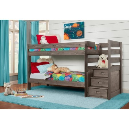 TWIN OVER TWIN STEP BUNK BED
