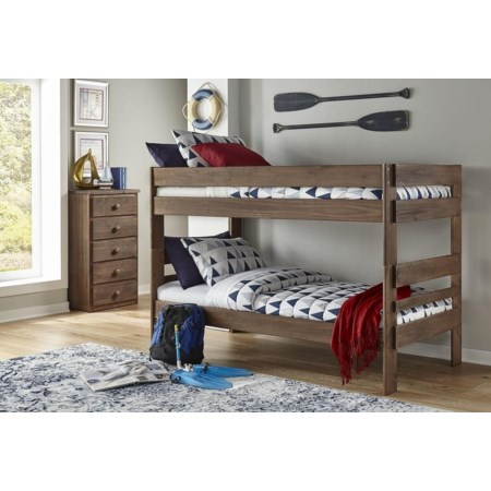 Weatherered Grey Twin Bunk Bed
