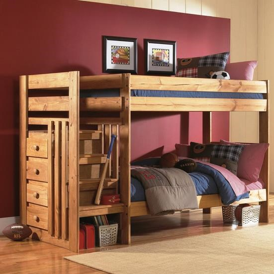 Simply Bunk Beds 7989 Twin Over Bed With Stairs And Drawers