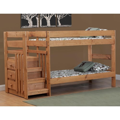 Simply Bunk Beds Pine TwinTwin Staircase Bunk Bed Wayside - Simply bunk beds