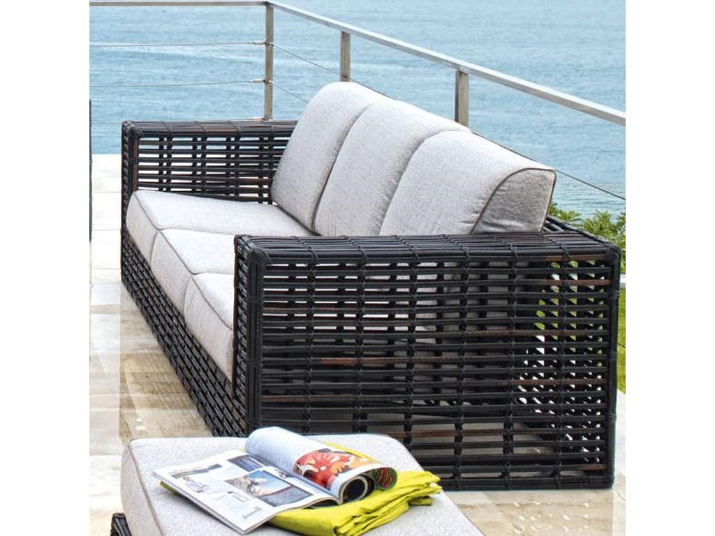 Skyline Design Topaz Contemporary Synthetic Woven Wicker With Aluminum Outdoor Sofa Comfy Three Cushion Seat Back