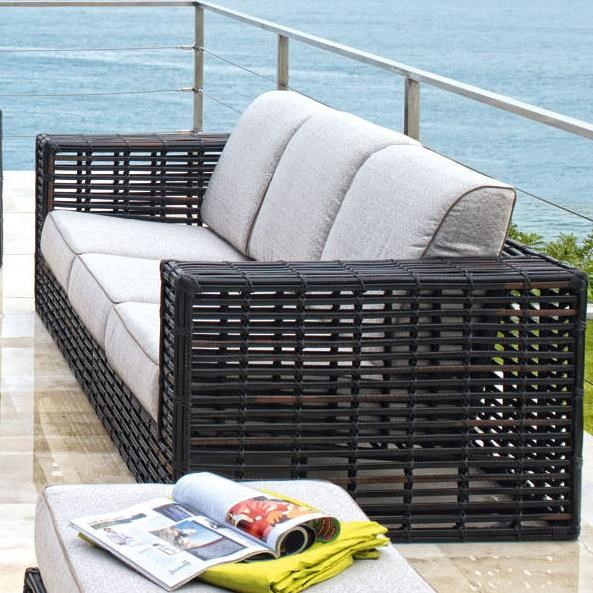 Skyline Design Topaz Contemporary Synthetic Woven Wicker With Aluminum  Outdoor Sofa With Comfy Three Cushion Seat U0026 Back Design   Baeru0027s Furniture    Outdoor ...