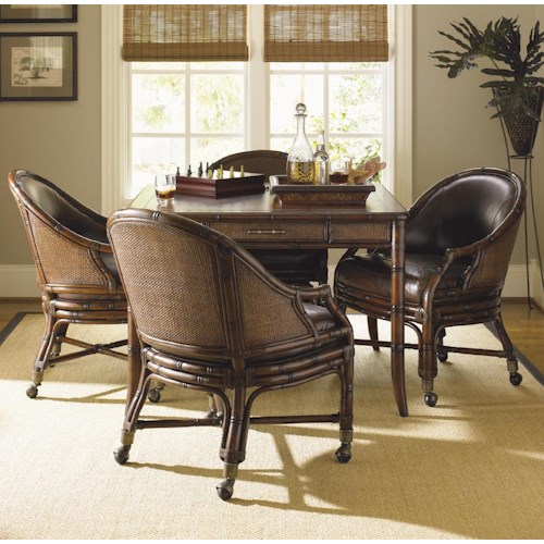 Sligh Bal Harbour 293sa 5 Piece Marco Island Game Table Set With Rum Runner Game Desk Chair