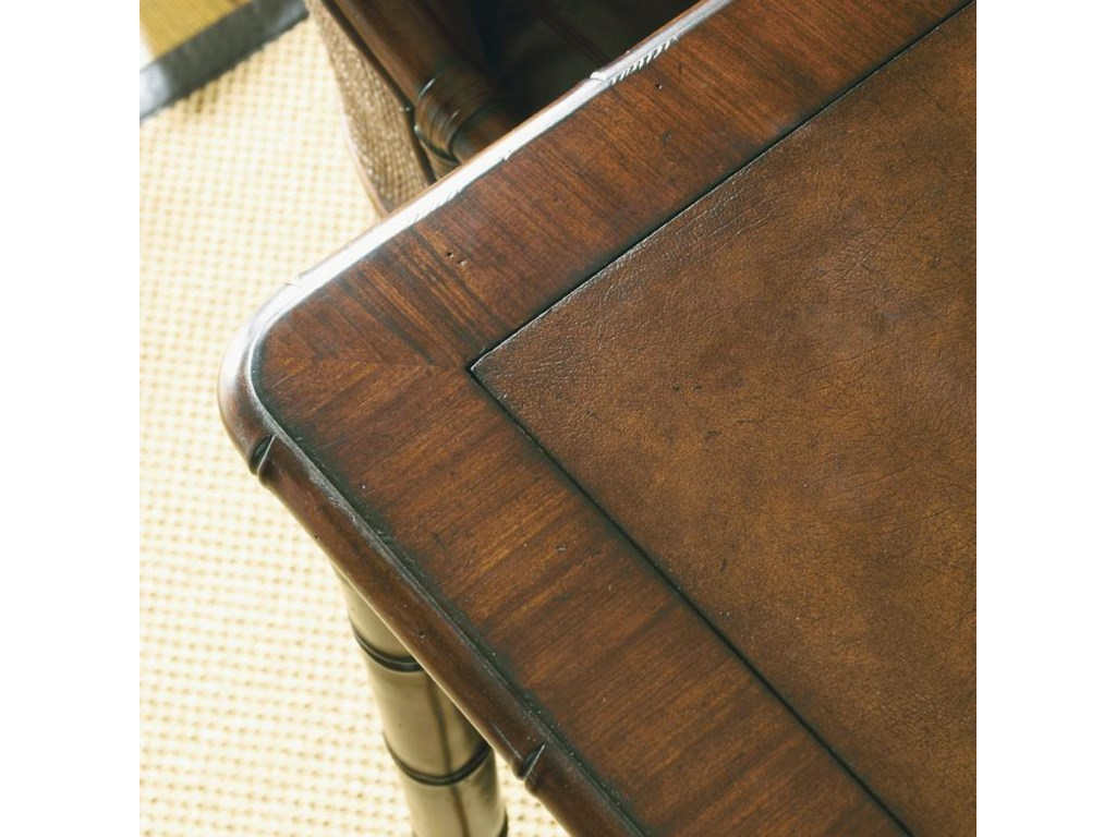 Detail of Leather Top and Rounded Rosewood Border on Marco Island Game Table