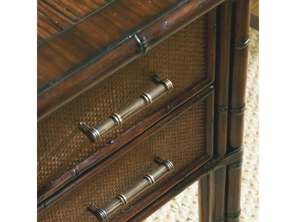 Detail of Woven Rattan Drawer Fronts, Bamboo Trim and Legs and Burnished Brass Handles