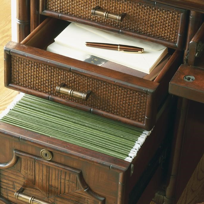 Detail of Open Storage Drawer and File Drawer in Credenza