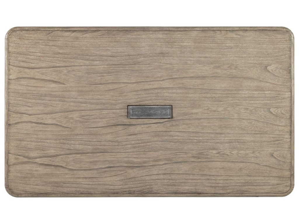 Top View of Table with Decorative Antique Pewter Pivot Door that Conceals a Power Module