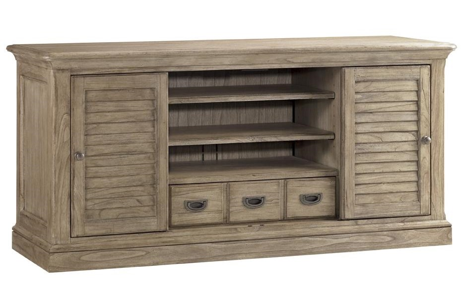 Shown with Louvered Doors Swung Out to Reveal Center Shelves and Drawers