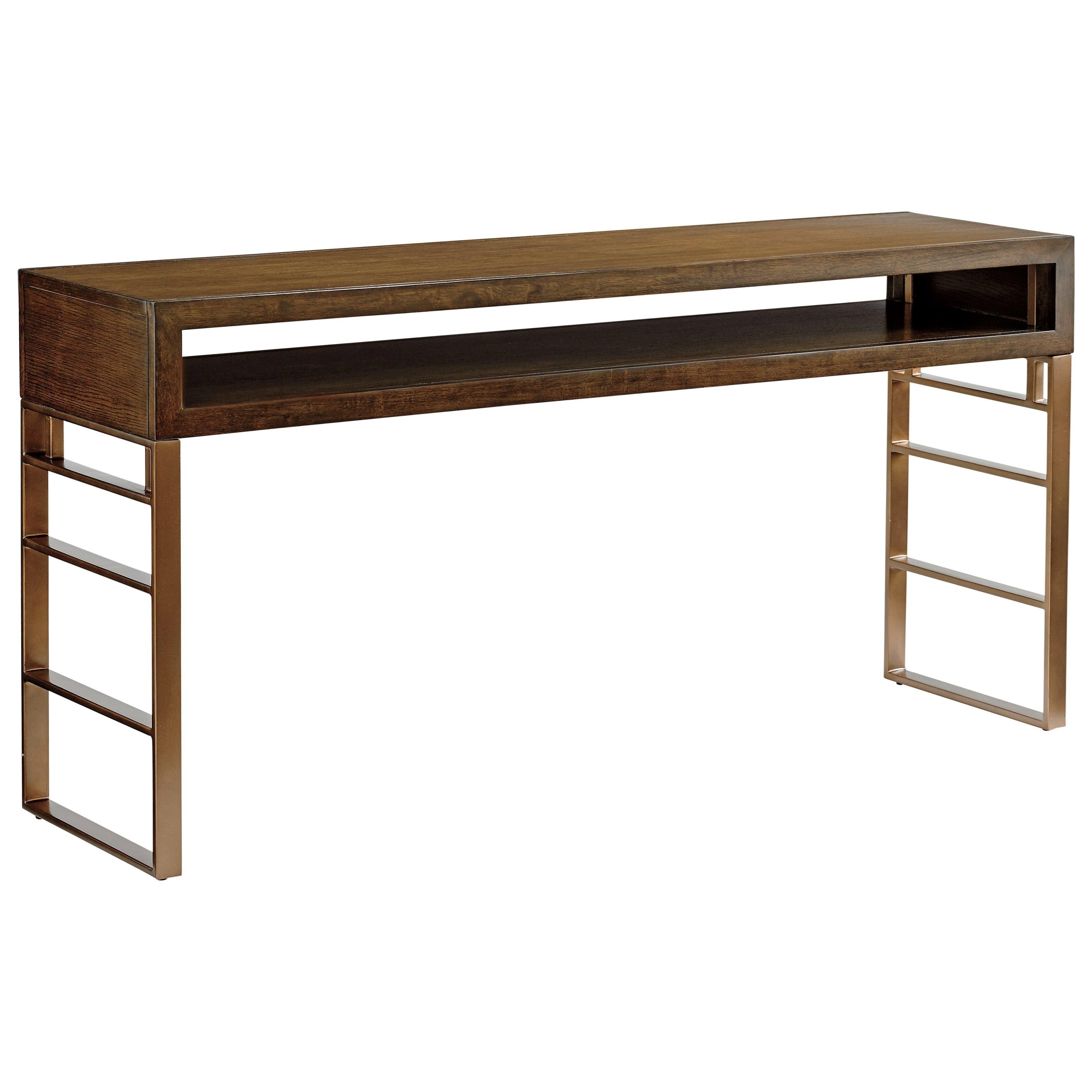 Sligh Cross Effect Contemporary Office Console With Metal Base   John V  Schultz Furniture   Table Desks/Writing Desks