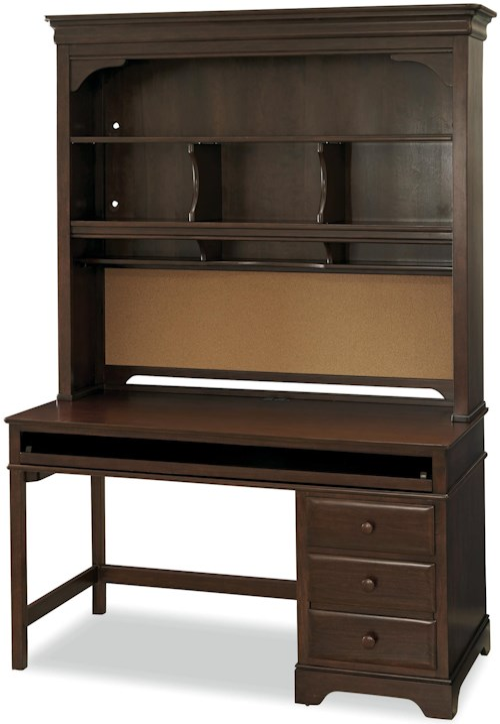 Smartstuff Classics 4.0 3-Drawer Single Pedestal Desk & Hutch with Corkboard Back