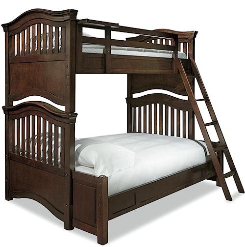 Smartstuff Classics 4.0 Twin Over Full Bunk Bed with Guard Rail & Clock Shelf