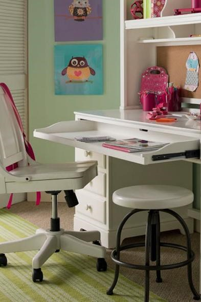 Pull-Out Tray Perfect for Laptop or Keyboard - Shown with Hutch, Swivel Desk Chair & Stool
